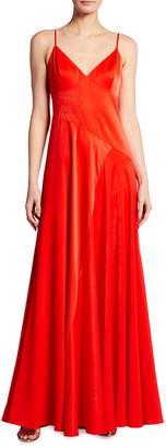 Aidan Mattox Spaghetti-Strap Washed Charmeuse Seamed Gown