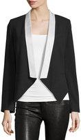Haute Hippie Colorblock Open-Front Blazer, Black/White