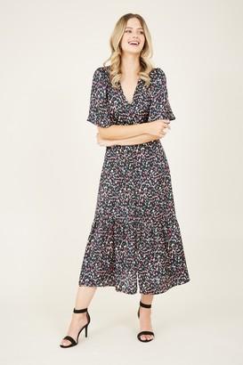 Yumi Black Animal Button Midi Dress
