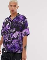 Jaded London revere collar printed short sleeve shirt in purple
