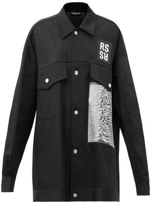 Raf Simons Ss18 Joy Division-print Denim Jacket - Black