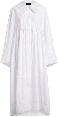 Simone Rocha Embroidered Midi Shirt Dress