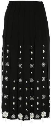 Prada Embellished Maxi Fringe Midi Skirt