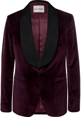 Salle Privée Burgundy Bori Slim-Fit Satin-Trimmed Cotton-Velvet Tuxedo Jacket