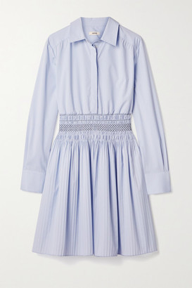 Jason Wu Shirred Cotton-blend Poplin Mini Shirt Dress - Light blue