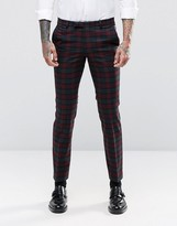 Noose & Monkey Super Skinny Suit Trousers In Tartan With Stretch