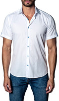 Jared Lang Woven Dot Print Short Sleeve Trim Fit Shirt