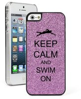 Apple iPhone 5 5s Glitter Bling Hard Case Cover Keep Calm and Swim On Swimmer (Purple)
