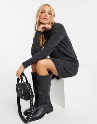 Vero Moda mini sweater dress in black marle