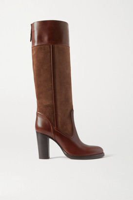 Chloé Emma Suede And Leather Knee Boots - Brown