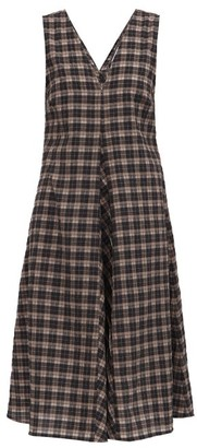 Ganni V-neck Check Organic Cotton-blend Seersucker Dress - Black Brown