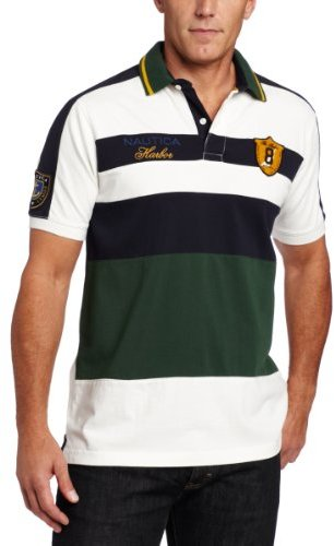 Nautica Men's Harbor Cup Pieced Stripe Polo