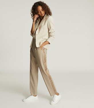 Reiss Jay - Pleat Front Tailored Trousers in Oatmeal