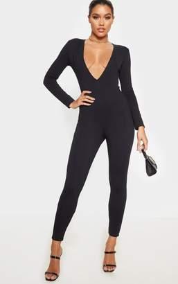 PrettyLittleThing Black Cotton Elastane Long Sleeve Jumpsuit