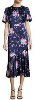 Prabal Gurung Flutter-Sleeve Floral Silk Satin Midi Dress, Blue