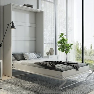 Orren Ellis Leavenworth Murphy Bed with Mattress Color: White, Size: Queen