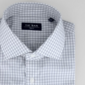 Tie Bar Gingham Grey Non-Iron Dress Shirt
