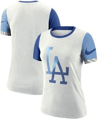 Nike Women's White Los Angeles Dodgers Slub Two-Tone Logo Performance T-Shirt