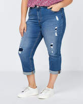 Penningtons Slightly Curvy Fit Denim Girlfriend Capri with Rips - d/C JEANS