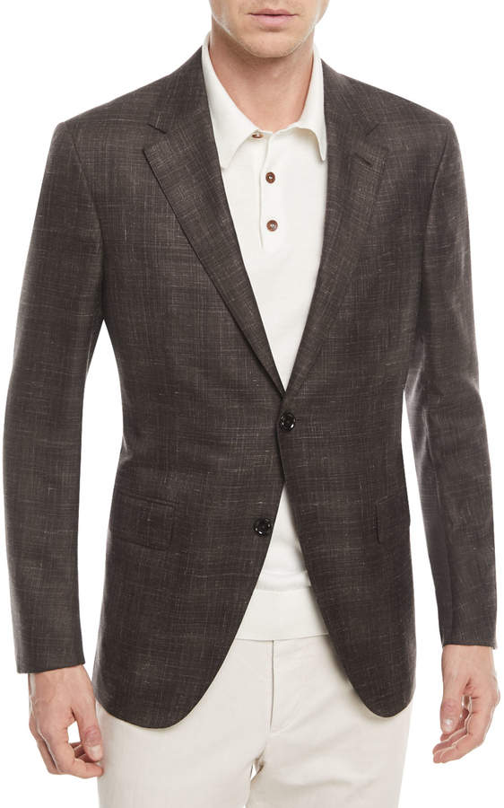 Ermenegildo Zegna Plaid Cashmere-Blend Two-Button Blazer