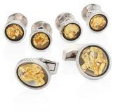 Tateossian 22K Gold Leaf Rhodium-Plated Brass Stud & Cuff Links Set