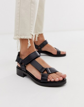 Asos Bluebell leather sporty sandals in black