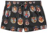 Dolce & Gabbana Slim-fit Short-length Printed Swim Shorts - Black