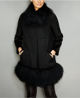 The Fur Vault Tibetan-Lamb-Trim Walker Coat