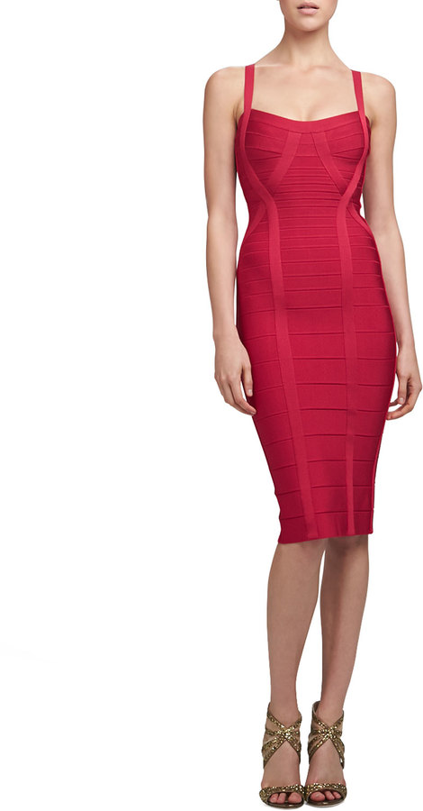 Herve Leger Thin-Strap Bandage Dress