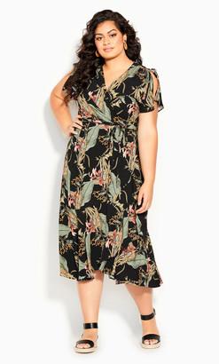 City Chic Island Palm Maxi Dress - black