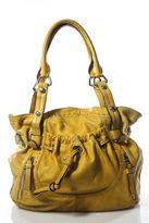 B. Makowsky Yellow Silver Tone Hardware Shoulder Handbag