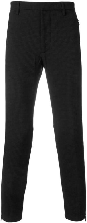 Emporio Armani textured slim-fit trousers