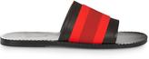Tomas Maier Contrast-stripe leather pool slides