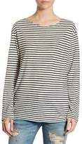 R 13 Striped Long Sleeve Boatneck Tee