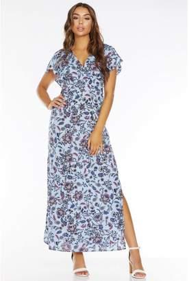 Quiz Light Blue Floral Print V Neck Split Maxi Dress