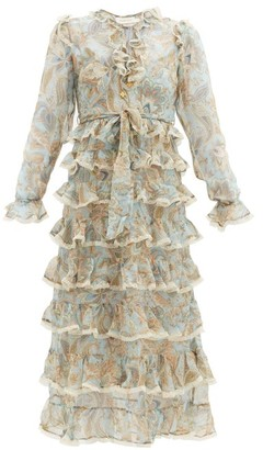 Zimmermann Ladybeetle Tiered Paisley-print Silk Dress - Blue Multi