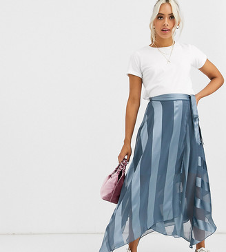 Asos DESIGN Petite satin stripe wrap midi skirt with tie waist
