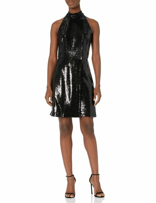 Halston Women's Sleeveless Mock Neck Above The Knee Dress in Micro Sequins