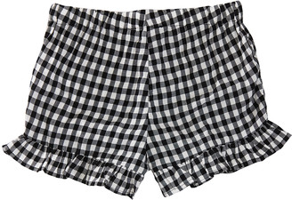 Forever 21 Girls' Casual Shorts Black - Black Gingham Ruffle-Accent Shorts - Girls