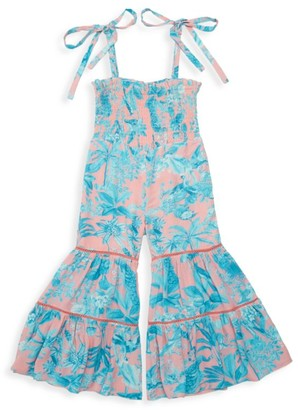 HEMANT AND NANDITA Little Girl's & Girl's Millim Smocked-Top Printed Jumpsuit