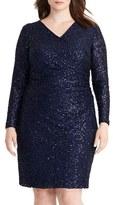 Lauren Ralph Lauren Sequin Lace Surplice Sheath Dress (Plus Size)