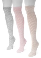 Muk Luks Pointelle Marl Knee High Socks - Pack of 3