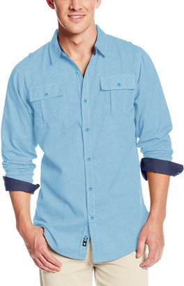 Burnside Men's Long Sleeve Button Down Solid Woven Shirt