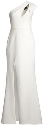 Aidan Mattox One-Shoulder Cutout Gown