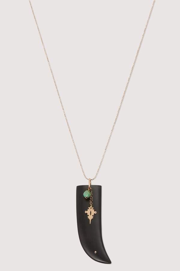 ginette_ny Ebony and turquoise pendant necklace