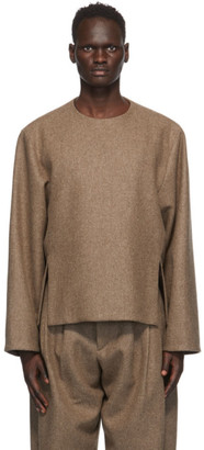 Hed Mayner Brown Wool Zip Sweater