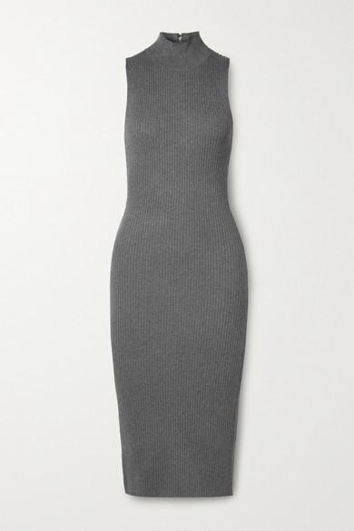 Alice + Olivia Alice Olivia - Brooklynne Ribbed Stretch-knit Turtleneck Midi Dress - Gray