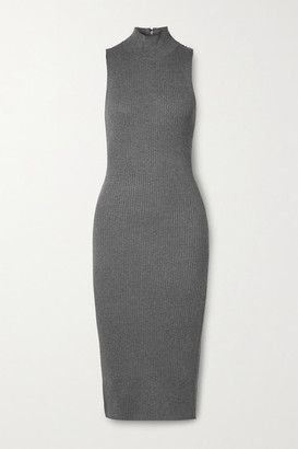 Alice + Olivia Alice Olivia - Brooklynne Ribbed Stretch-knit Turtleneck Midi Dress - Gray