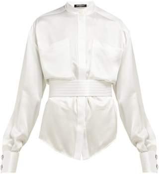 Balmain Belted Silk Satin Blouse - Womens - White