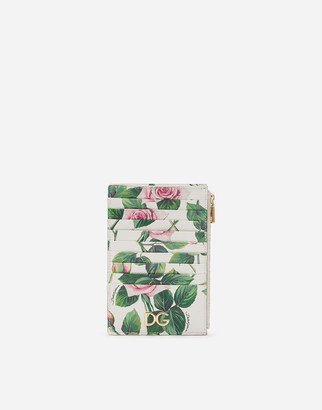 Dolce & Gabbana Vertical Dauphine Calfskin Credit Card Holder With Tropical Rose Print